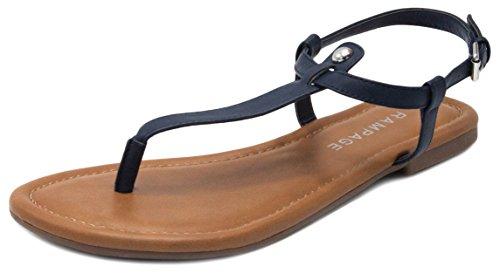 Rampage Women's Pashmina Flat Sandal Navy Smooth 10