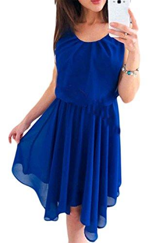 Crewneck Blue Dresses s Waist Pleated Elastic Women Solid Sleeveless Chiffon Swing Cromoncent qI6SPRwC