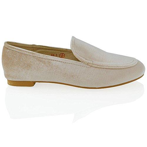 Essex Glam Mocassini Da Donna Slip On Casual Pumps Shoes Nude Velluto