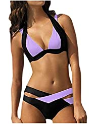 dcf0d90b4c007 Women's Swimsuit Sexy Split Bikini Push-ups Beachwear Swimsuit Set Blue