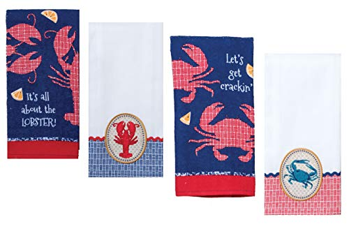 4 Nautical Themed Decorative Cotton Kitchen Towels Set with Lobster and Crab Print | Total 2 Terry Towels and 2 Tea Towels for Dish and Hand Drying | by Kay ()