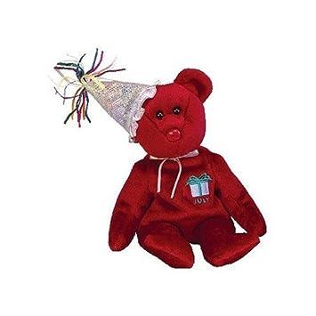061884b2466 TY Beanie Baby - JULY the Teddy Birthday Bear (w  hat)  Toy   Amazon.co.uk   Toys   Games