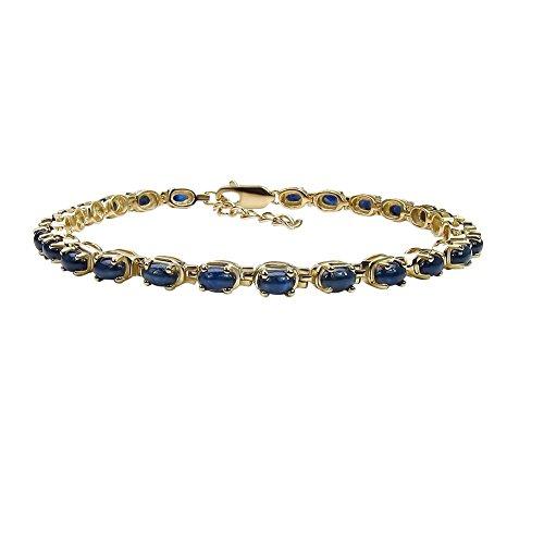GoExclusif - Women's Bracelet - 925 Sterling Silver, Gold Plated- Genuine Blue ()