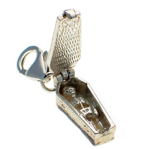 Welded Bliss Sterling 925 Silver Clip On Charm Coffin Opening to Show a Skeleton WBC1380
