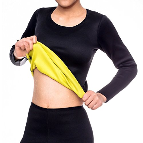 Ausom Womens Sweat Body Shaper Long Shirt Hot Thermo Slimming Sauna Suit Weight Loss Black Shapewear (Arms Black T-shirt)