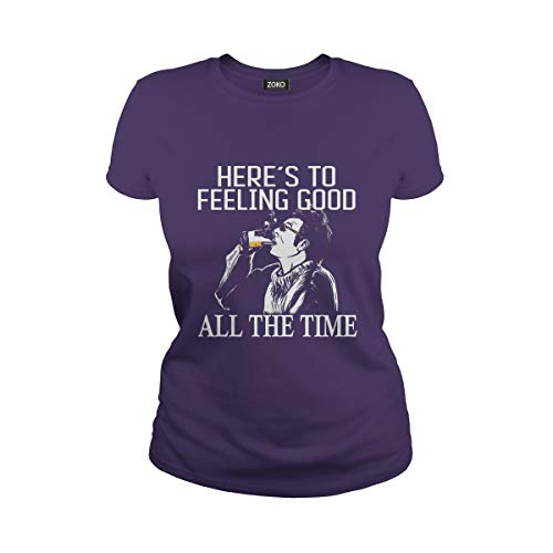 Zoko Apparel Women's Here's to Feeling Good All The Time T-Shirt (M, Purple) (Seinfeld Elaine)