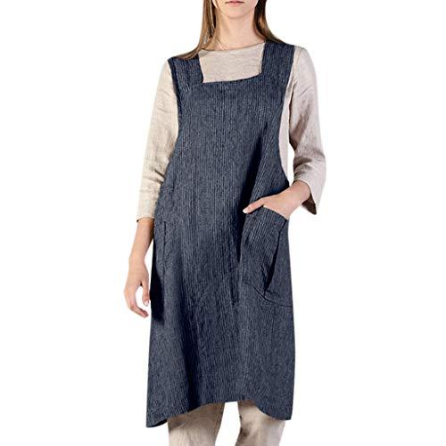 Peigen Women's Cotton Linen Solid Apron Dresses, Stripe Pinafore Square Cross Apron Garden Work Pinafore Dress