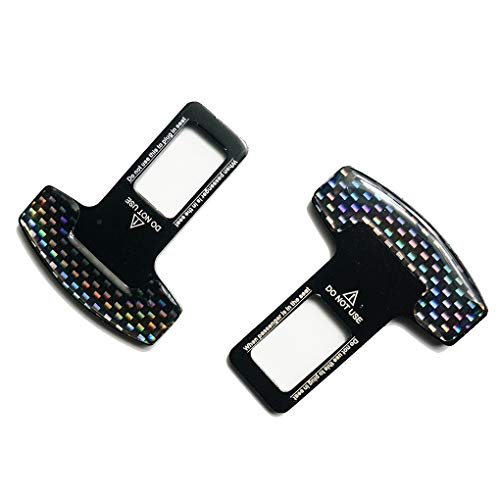 M-Egal 2pcs Universal Vehicle Mounted Carbon Fiber Car Safety Seat Belt Buckle Clip Car-Styling 34mm x 20mm (Seat Belt Metal Buckle)
