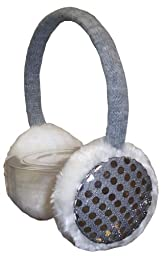 N'Ice Caps Girls Sequin Trimmed Adjustable Ear Muffs (white/grey)