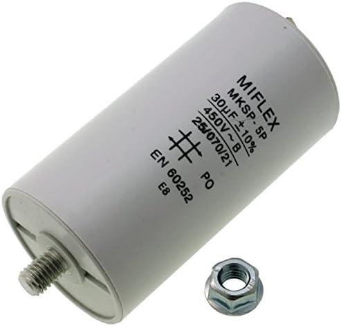 Condensador de Arranque, Condensador de Motor 30µF 450V 45x 83mm Conector M8; Miflex; 30uf