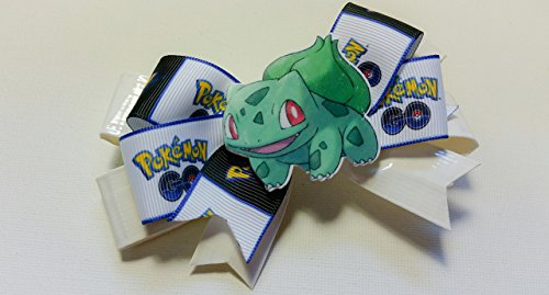 Bulbasaur White Duct Tape and Ribbon Hair Bow