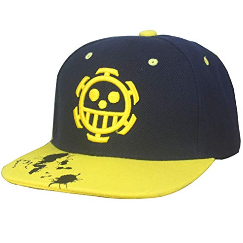 Hat Anime Cat - Unisex Hot Japan Anime Law Flatbrim Cap Cotton Baseball Cap Snapback (Black 2, Free Size)