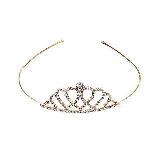 CHIMERA Bling Crown Head Hoop Crystal Hairband Classic Gold Metal Head Band Wedding Party Hair Holders for Bride Girls and Women