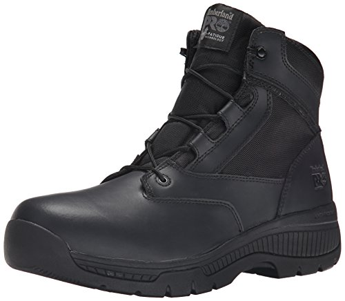 Ballistic Leather - Timberland PRO Men's 6 Inch Valor Soft Toe Side Zip Work Boot, Black Smooth Leather Ballistic Nylon, 9.5 M US
