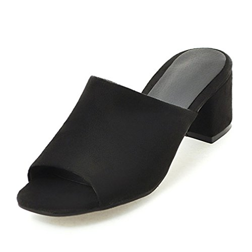 On Chaussures Toe Femmes Floral Slip De Mujer Dames Square Lumino Half Slippers Pantoufles Mode Mules Black Hpwcq6F