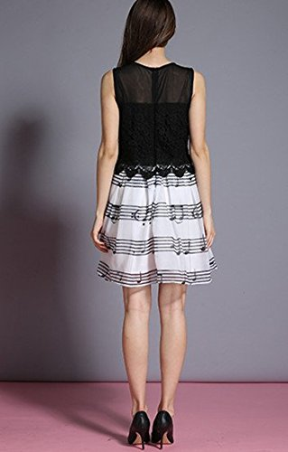 White A Dress Line Bobbycool Sleeveless Lace Chiffon Black Notes A Striped Dress Slim 7ZqngfnxEd