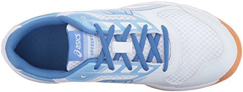 Asics Vrouwen Upcourt 2 Volleybal Schoen Wit / Regatta Blauw / Airly Blue