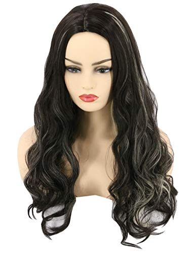 Topcosplay Womens or Girls Wig Long Wavy Black Mixed Blonde Witch Ghost Cosplay Halloween Costume Party Wig]()