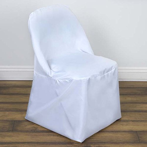 Efavormart 50pcs White Linen Polyester Folding Chair Cover Dinning Chair Slipcover for Wedding Party Event Banquet ()