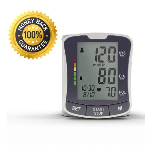 Wrist Blood Pressure Monitor..Best vente numérique Tensiomètre - automatique et portable pour les mesures de pression Facile sang - Perfect Home Tensiomètre - contrôler la pression artérielle et l'hypertension - 100% SATISFACTION GARANTIE!