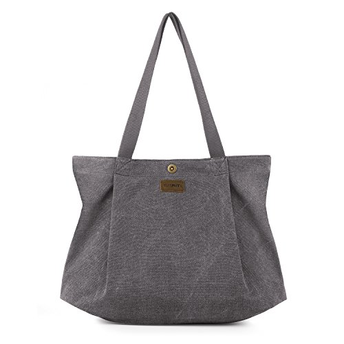 SMRITI Canvas Tote Bag for Women School Work Travel and Shopping (2 Light grey) ()