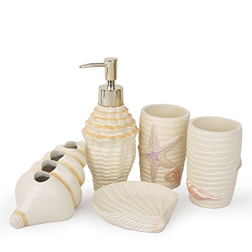 Brandream designer coastal shell bathroom accessories - Unique bathroom accessories sets ...