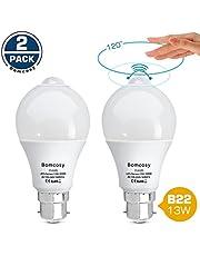 Bomcosy Lampe Detecteur de Mouvement B22 13W Blanc Froid 6000K LED Capteur PIR Infrarouge Auto On/Off Eclairage pour Escalier Garage Couloir Passerelle Jardin Passerelle Lot de 2