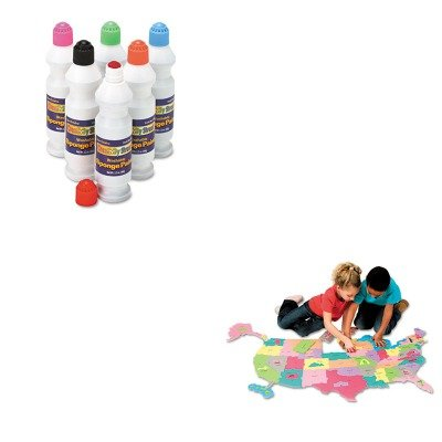 KITCKC2400CKC4377 - Value Kit - Creativity Street Wonderfoam Giant U.S.A Puzzle Map (CKC4377) and Creativity Street Sponge Paint Set (CKC2400)