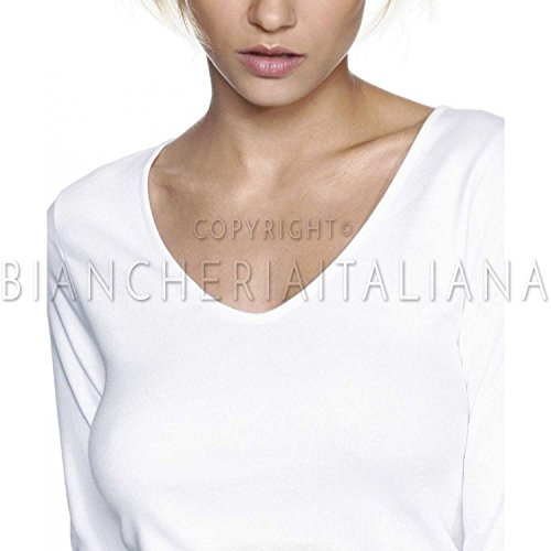 Ragno interlock garzato Donna Maglia puro cotone lunga BIANCO in manica pprqX