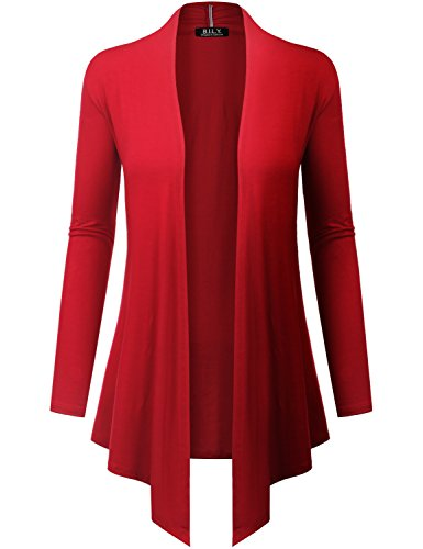 Red Cashmere Sweater - Because I Love You Women's Open Front Drape Hem Lightweight Cardigan - XX-Large - Red