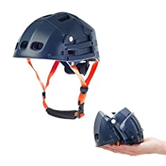 Volume divided by 3 when folded  Size of the helmet when folded: 8 x 4.5 x 6 in  Adjustable fit system and lockable dividers  Sold with inner fitting pads of various thicknesses  14 vents  Outer shell is made of ABS - Inner shell is made of ...
