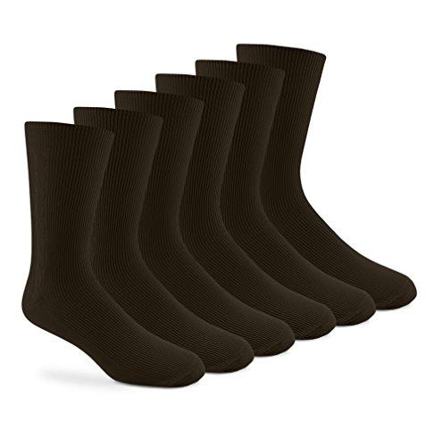 Jefferies Socks Mens Nylon Design Crew Dress Socks 6 Pair Pack (Sock Size 10-13 - Shoe Size 9-13, Dark Brown)