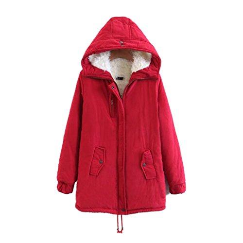 Coat Taille Honghu Chaquetas Encapuchado Otoño Rojo Ocio E Casual Larga Abrigos Manga Mujer Outwear Invierno Uq0UO