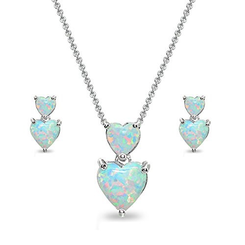 Sterling Silver Simulatd Opal Double Heart Friendship Necklace & Stud Earrings Set