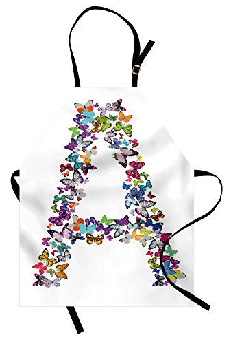 Ambesonne Letter A Apron, The First Letter of The Alphabet in Butterfly Form Nature ABC Multiple Colors, Unisex Kitchen Bib Apron with Adjustable Neck for Cooking Baking Gardening, Multicolor ()