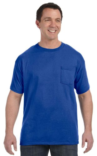 Hanes Adult Tagless Tee with Pocket, Deep Royal, XX-Large