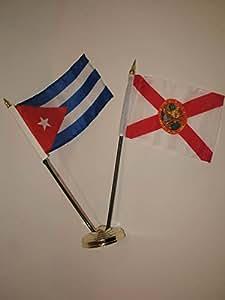 """Florida Estado y Cuba 4""""x6"""" Juego de escritorio mesa de bandera de país Stick oro Base colores vivos y ultravioleta resistente a la decoloración–cabecera y poliéster MATERIAL"""