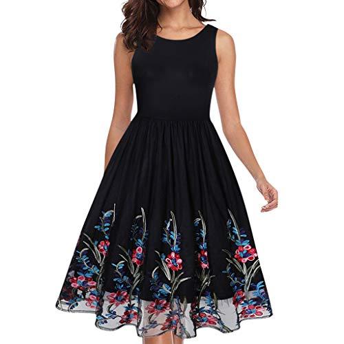 (Vintage Tea Dress 1950's Floral Spring Garden Retro Swing Prom Party Cocktail Dress for Women)
