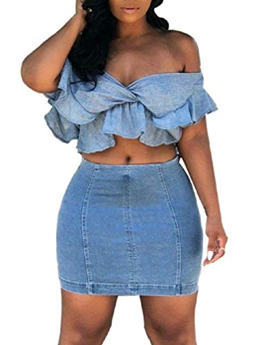DingAng Women Sexy Off Shoulder Ruffle Crop Top Denim Mini Skirt Outfit Two Piece Bodycon Club Dress