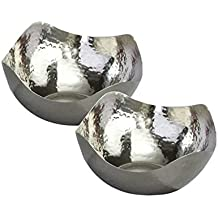 Elegance Hammered 6-Inch Stainless Steel Wave Serving Bowls, Set of 2, Silver