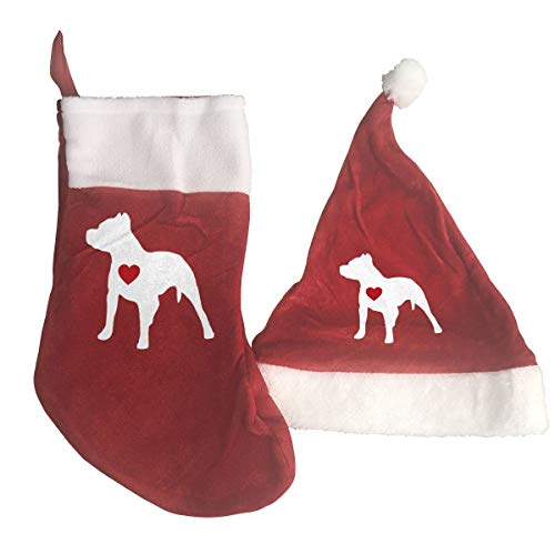 (Santa&HT-8 Pitbull Clipart Red and White Christmas Stocking and Hat Set for Childrens and Adults)
