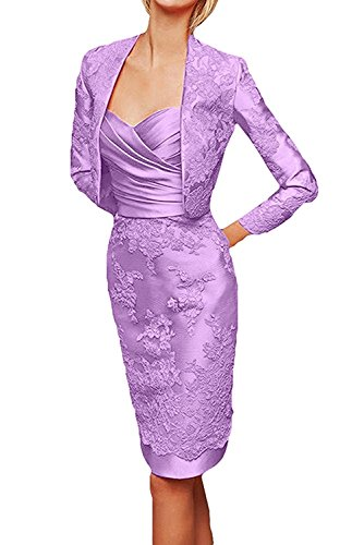 Abendkleider Partykleider Brautmutterkleider mit La Etuikleider Spitze Damen Flieder Knielang Langarm Braut mia Jaket qSc0Sw8X
