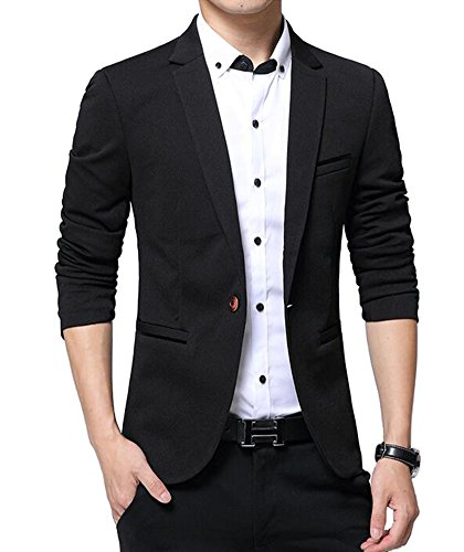 Benibos Men's Slim Fit Casual Premium Blazer Jacket (L, 1416 Black)