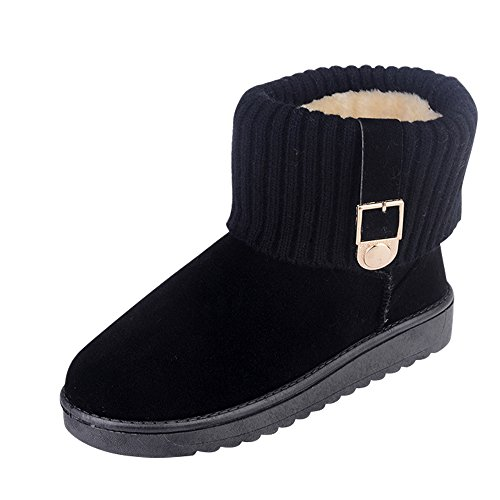 Optimal Womens Winter Snow Boots Fully Fur Lined Warm Ankle Boots Skid Resistant Black-b xAgtdZCFJ