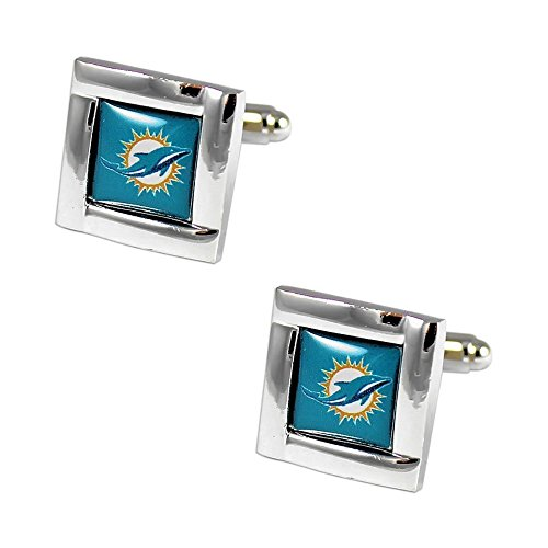 aminco NFL Miami Dolphins Womens NFL Sports Team Logo Square Cufflinks with Gift Box Set, Silver, One Size
