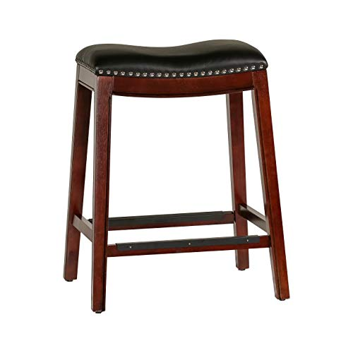 DTY Indoor Living Frisco Bonded Leather Saddle Stool, 24