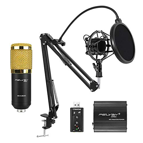 kesoto Home Studio Condenser Microphone Kit with Shock Mount, Pop Filter, External USB Sound Card, for Recording US Plug
