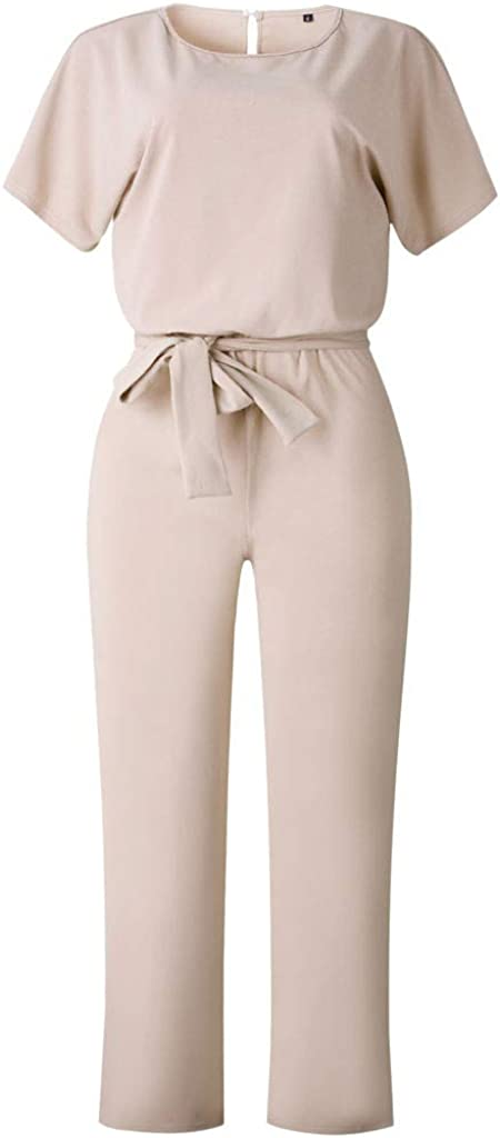 NOMUSING Women Casual Loose Short Sleeve Straight Wide Leg Pant Romper Jumpsuits Playsuit Clubwear Trousers with Belt