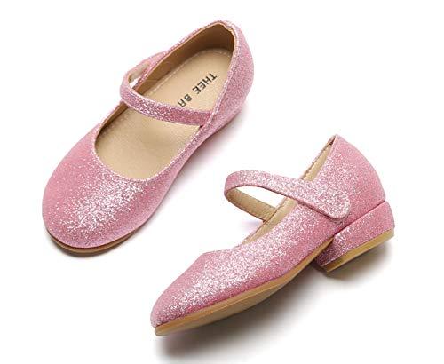 (THEE BRON Toddler Little Girls Low Medium Heel Dress Flats Mary Jane Pump (8M US Toddler, Tb903 Pink))