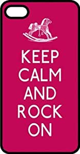Keep Calm & Rock On with Rocking Horse Black Rubber Case for iPhone 5 or iPhone 5s